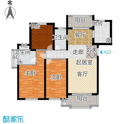东方米兰国际城140.90㎡三室两厅两卫户型3室2厅2卫