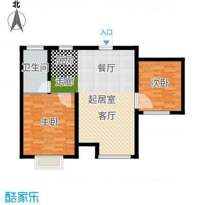 玩美天地84.00㎡3.7号楼三层平面C户型。户型2室2厅1卫