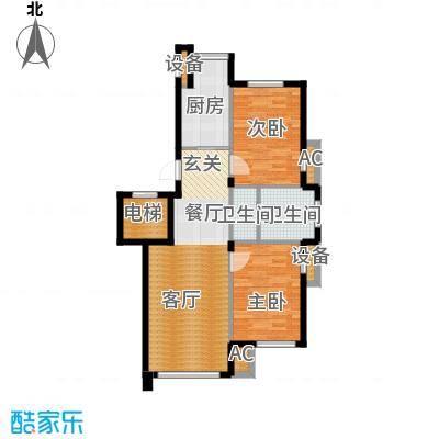锦绣燕居88.00㎡E户型 二室二厅一卫户型2室2厅1卫