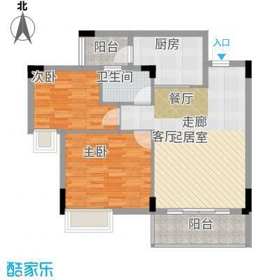 友田碧云轩80.00㎡6栋2~8层02户型2室2厅1卫