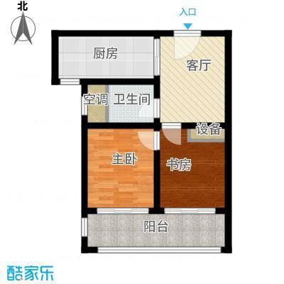 上书房57.00㎡上书房36栋B户型2室1厅1卫