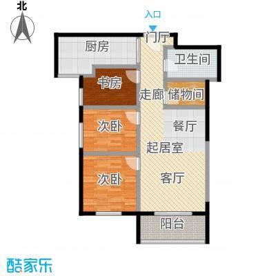 半坡国际广场107.68㎡F户型3室2厅1卫户型3室2厅1卫