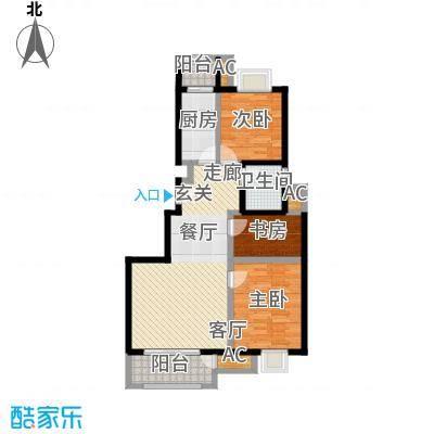天恒乐活城D598.00㎡图为D2户型 三室两厅一卫户型3室2厅1卫