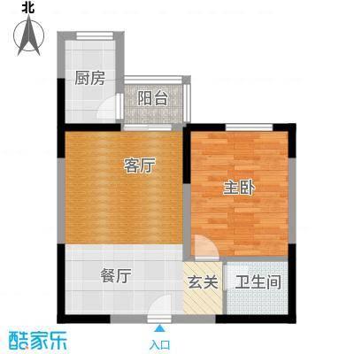 百欣花园60.10㎡G户型一室两厅一卫户型1室2厅1卫