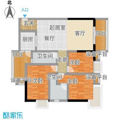 西湾阳光南座19-32层D户型3室2卫1厨