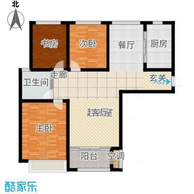 鲁商凤凰城120.00㎡C户型 三室两厅一卫户型3室2厅1卫