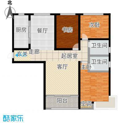 鲁商凤凰城140.00㎡D户型 三室两厅两卫户型3室2厅2卫