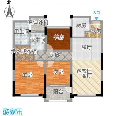 金地天际105.00㎡3号楼标准层E户型3室2厅2卫