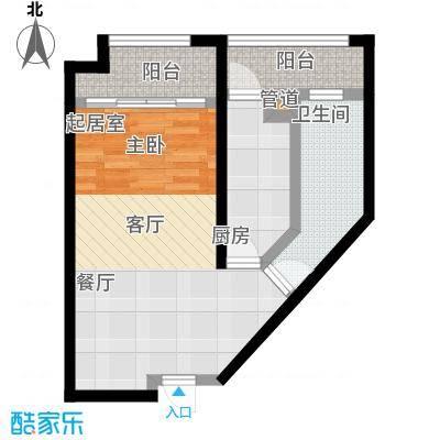 龙湖紫都城61.93㎡龙湖紫都城户型图1室2厅1卫1厨(1/4张)户型1室2厅1卫