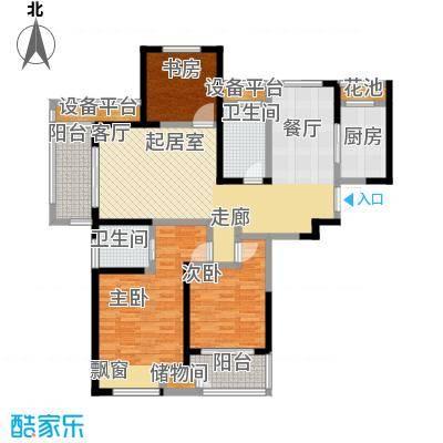 聚湖雅苑128.47㎡D户型3室2厅2卫