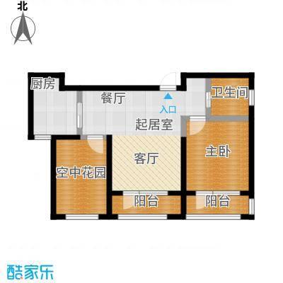 正源吉祥e家祥福园78.40㎡E户型78.4平米户型图户型2室2厅1卫