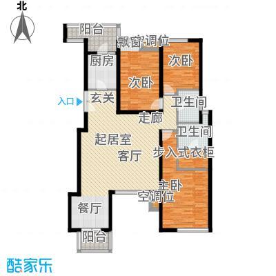 景瑞阳光尚城135平米三室两厅两卫户型