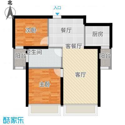 尚海华庭79.00㎡H户型2室2厅1卫