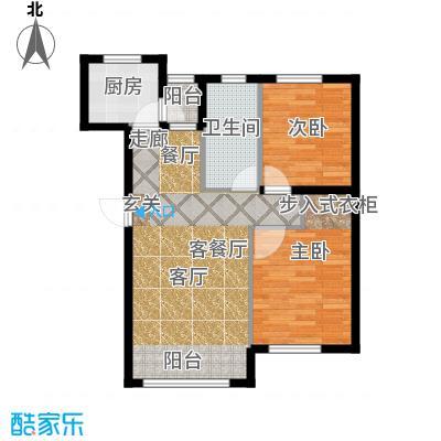 知润山75.00㎡Ja户型,两室两厅一卫,75平米,15#16#户型2室2厅1卫