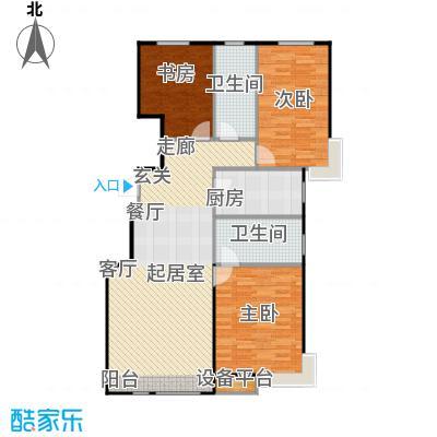 万科魅力之城三期108.00㎡三室二厅二卫户型3室2厅2卫