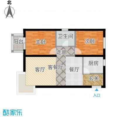 京洲世家91.25㎡D户型2室2厅1卫