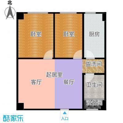 峰尚中南两室一厅 71.55平米户型2室2厅1卫