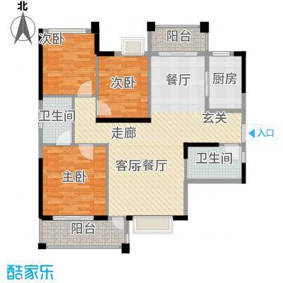 君�花园智本精英房A户型3室1厅2卫1厨