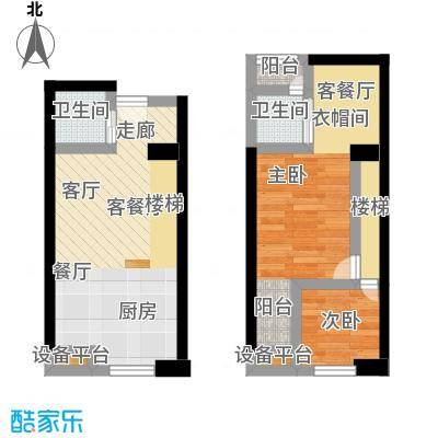 南国大武汉SOHO48.00㎡A1户型2室2厅2卫