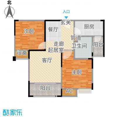 悦府・保利海德公馆三期85.00㎡F2户型 两室两厅一卫户型2室2厅1卫