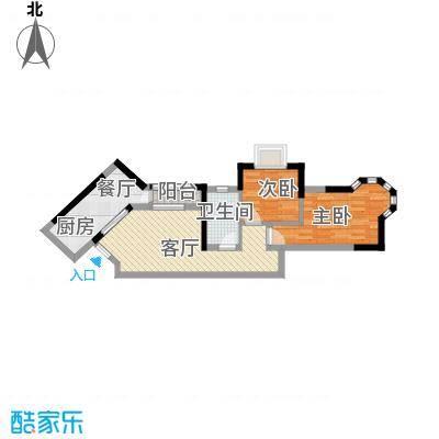 中惠香樟绿洲71.00㎡45栋中央湖景精装户型2室1厅1卫1厨