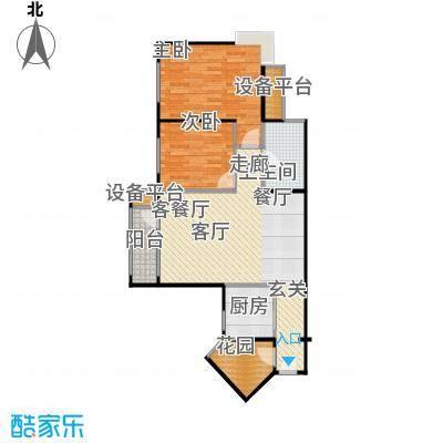 香海上峰90.32㎡2室2厅1卫户型