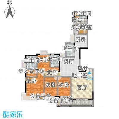 富力唐宁花园A3栋标准层02户型4室4卫1厨
