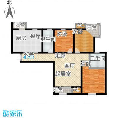 金海湾公寓140.00㎡5号楼标准层三室二厅二卫户型-T