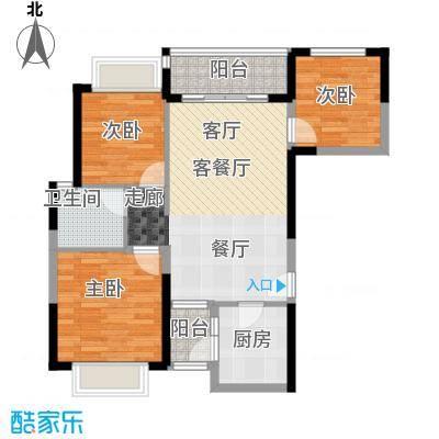 恒大银湖城20栋3-24层03户型3室1厅1卫1厨