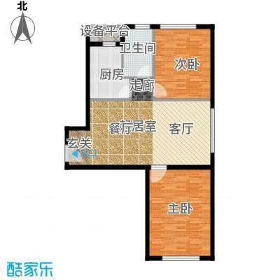 中信海港城97.00㎡海景公寓E户型二室二厅一卫户型2室2厅1卫