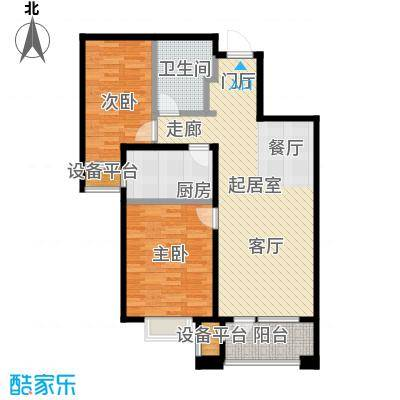 润达万科金域蓝湾89.00㎡A户型两室两厅一卫89平米户型2室2厅1卫