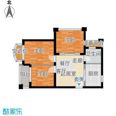 银河湾第1城72.00㎡二期E户型3室2厅1卫户型3室2厅1卫