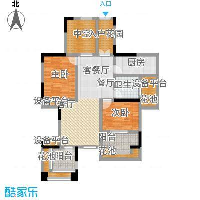 中冶南方韵湖首府97.00㎡B2户型 两室两厅一卫户型2室2厅1卫
