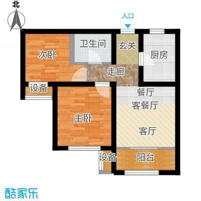 旭辉朗悦湾84.00㎡H户型2室2厅1卫