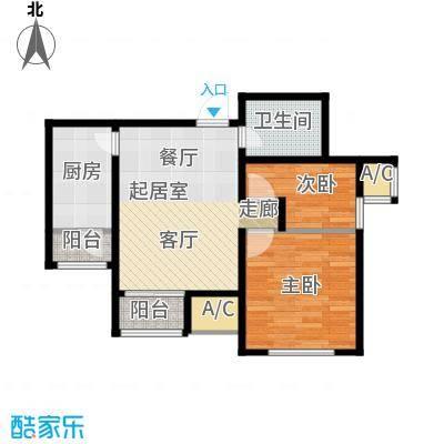 渤海天易园户型2室1卫1厨