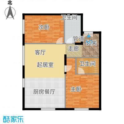 北京ONE127.38㎡图为1-D户型2室2卫
