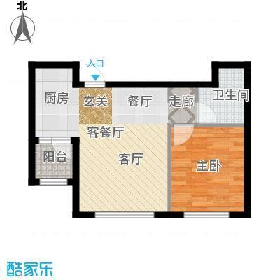 知润山54.00㎡F户型,一室两厅一卫,54平米,1#2#3#4#5#6#7#8#户型1室2厅1卫
