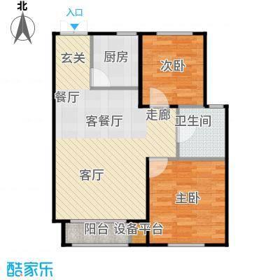 海航YOHO湾D户型两室两厅一卫80.39平米户型图户型2室2厅1卫