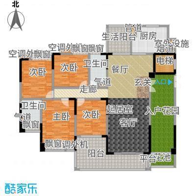 归心苑189.00㎡归心苑户型图D3户型四房两厅两卫(3/4张)户型4室2厅2卫
