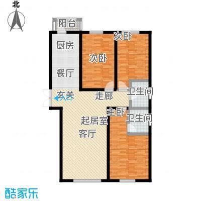 秀月佳苑148.56㎡H户型三室二厅二卫户型3室2厅2卫-T