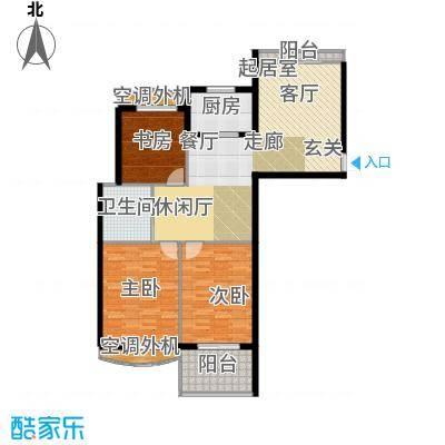 银河湾明苑87.63㎡三房二厅一卫-114.91平方米-65套。户型