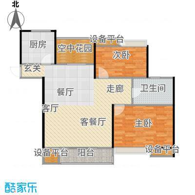 阳光福地95.44㎡二房二厅一卫-95.44平方米-34套。户型