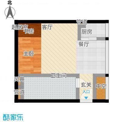 学府名门51.70㎡学府名门户型图一房二厅一卫-51.7平方米-34套(2/3张)户型10室