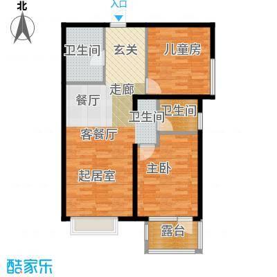 金隅・观澜时代88.00㎡G13`户型2室2厅1卫