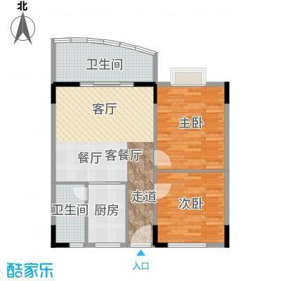 丽湾花园75.89㎡户型2室1厅2卫1厨