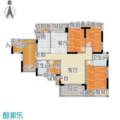 招商澜园户型图11、12、13栋B单元 E+F户型三房二厅二卫(1/11张)