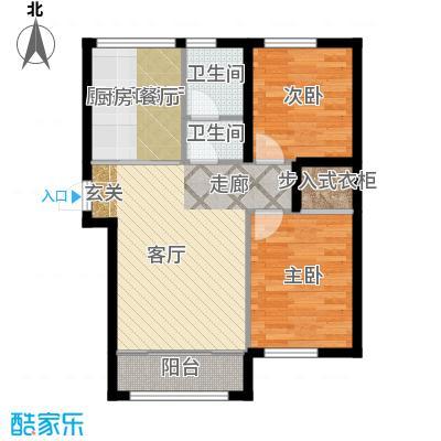 知润山72.00㎡Ga户型,两室一厅一卫,72平米,1#2#3#4#5#6#7#8#户型2室1厅1卫