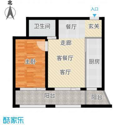 金科清都记忆K户型 一室两厅一卫73平米户型1室2厅1卫