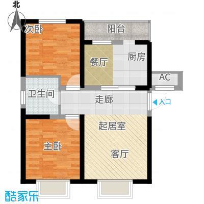 柴楼新庄园88.24㎡二室二厅一卫 88.24平方米户型