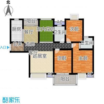 东方明珠花园户型3室2卫1厨